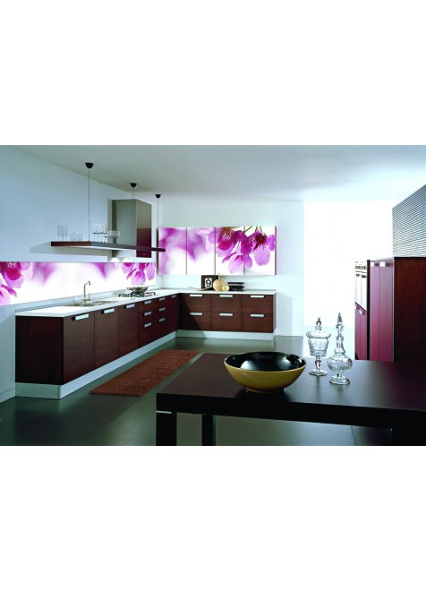 Kitchen glass wall panel purple flowers - Glass wall panels kitchen ...